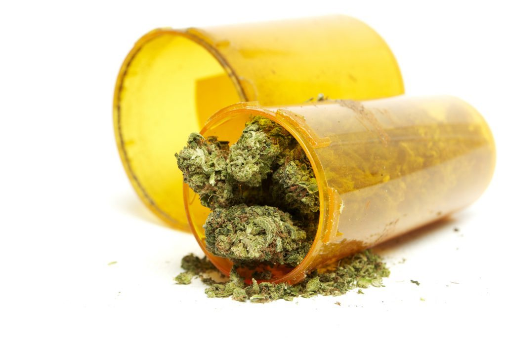 pill bottle filled with medical marijuana